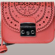 Glamvogue Laser - Cut Leather Shoulder Small Bag Red