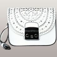 Glamvogue Laser - Cut Leather Shoulder Small Bag White