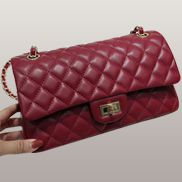 Adele Diamond Shape Leather Flap Bag Burgudy