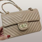 Adele Flap Mini Bag V Shape Quilted Leather Beige