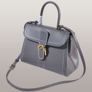 Suzanne Horseshoe Buckle Leather Medium Bag Grey
