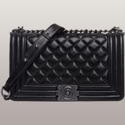 Ingrid Diamond Shape lamb Skin Leather Flap Black