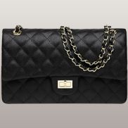 Iris Flap Bag Cowhide Leather Caviar Black
