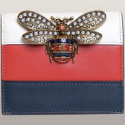 Bee Small Wallet Cowhide Leather White Red