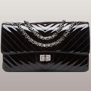 Adele V Shape Patent Leather Flap Bag Black