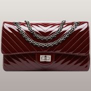 Adele V Shape Patent Leather Flap Bag Burgundy