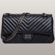 Adele V Shape Quilted Leather Flap Bag Black