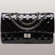 Adele Diamond Shape Patent Leather Flap Black