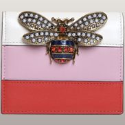 Bee Small Wallet Cowhide Leather White Pink
