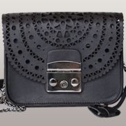 Glamvogue Laser - Cut Leather Shoulder Small Bag Black