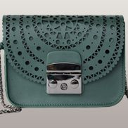 Glamvogue Laser - Cut Leather Shoulder Small Bag Green