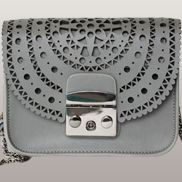 Glamvogue Laser - Cut Leather Shoulder Small Bag Grey
