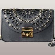 Glamvogue Laser - Cut Leather Shoulder Bag Black