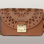 Glamvogue Laser - Cut Leather Shoulder Bag Brown