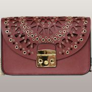 Glamvogue Laser - Cut Leather Shoulder Bag Burgundy