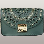 Glamvogue Laser - Cut Leather Shoulder Bag Green