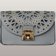 Glamvogue Laser - Cut Leather Shoulder Bag Grey