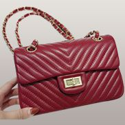 Adele Flap Mini Bag V Shape Quilted Leather Burgundy