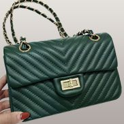 Adele Flap Mini Bag V Shape Quilted Leather Green