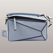 Adrienne Geometry Leather Shoulder Bag Blue