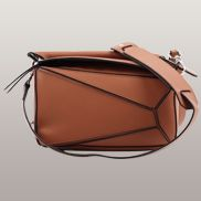 Adrienne Geometry Leather Shoulder Bag Brown