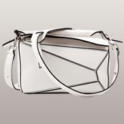 Adrienne Geometry Leather Shoulder Bag White