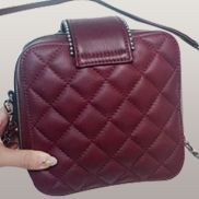 Andres Shoulder Leather Bag Burgundy