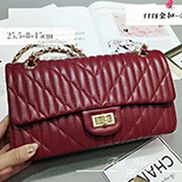 Adele Quilted Lambskin Leather Flap Bag Burgundy
