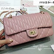 Adele Quilted Lambskin Leather Flap Bag Pink