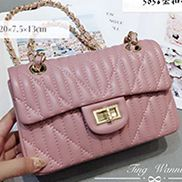 Adele Quilted Lambskin Leather Flap Mini Bag Pink