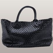 Grand Boulevard Woven Large Tote Black