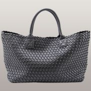 Grand Boulevard Woven Large Tote Dark Grey