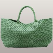 Grand Boulevard Woven Large Tote Green