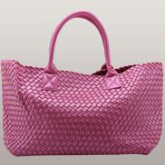 Grand Boulevard Woven Large Tote Hot Pink