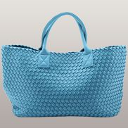 Grand Boulevard Woven Large Tote Light Blue