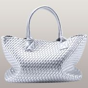Grand Boulevard Woven Large Tote Silver