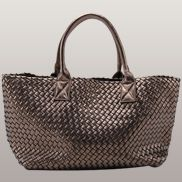 Grand Boulevard Woven Large Tote Bronze