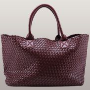 Grand Boulevard Woven Large Tote Burgundy