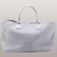 Grand Boulevard Woven Large Tote Cream