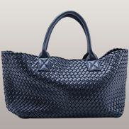 Grand Boulevard Woven Large Tote Dark Blue