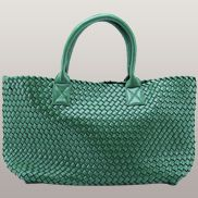 Grand Boulevard Woven Large Tote Dark Green