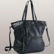 Blerta Cowhide Grained Leather Bag Black