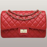 Adele Flap Bag Faux Leather Red Gold Hardware
