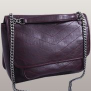 Irina Leather Shoulder Bag Burgundy