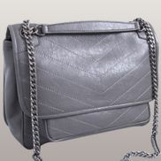 Irina Leather Shoulder Bag Grey