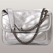 Irina Leather Shoulder Bag Silver