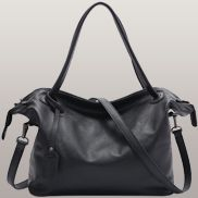 Paula Cowhide Grained Leather Bag Black