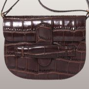 Pernilla Leather Shoulder Bag Croc Chocolate