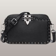 Rockstar Leather Cross Body Bag Black