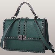 RockStar Grain Leather Top Handle Shoulder Bag Green
